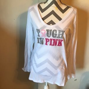Long sleeping breast Cancer awareness top