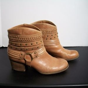 Jessica Simpson leather studded harness boots