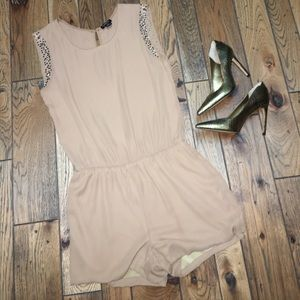 💥FINAL SALE💥 Camel-colored Studded Romper