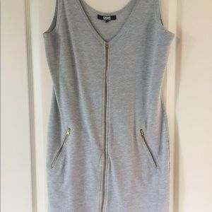 Light grey body-con dress with zipper accents