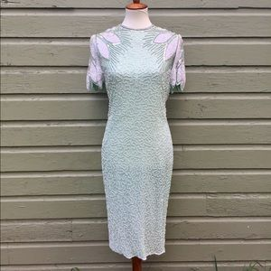 Vintage green silk beaded dress