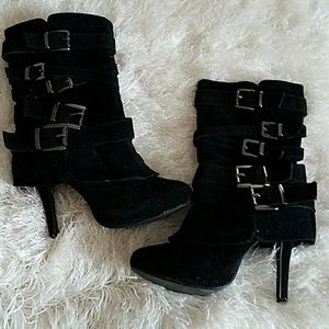 'Strapped Up' Black Heel Boots