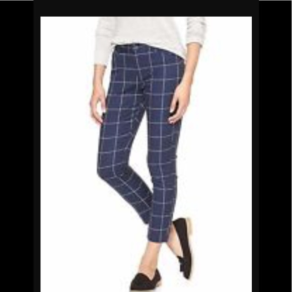 04bc06700ce369 GAP Pants | Cropped Navy Blue White Checked Print | Poshmark
