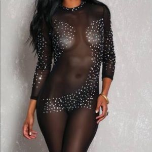 Other - Rhinestone jumpsuit !!! See through!