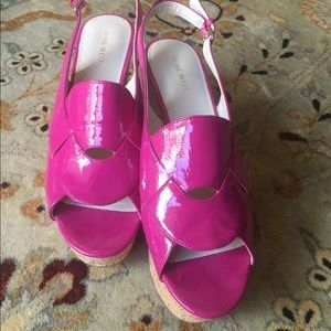Nine West Size 10M Pink Patent Leather Cork Wedge