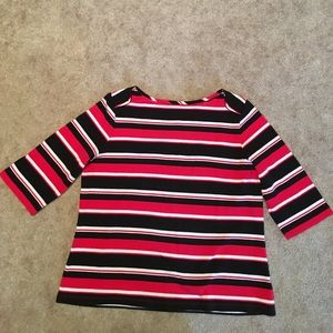 Woman's 3/4 sleeve stripped top