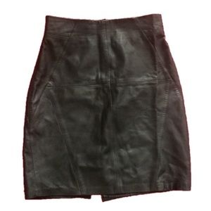 H&M Genuine Leather Classic Black Skirt