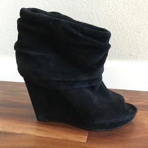 Black, suede leather, wedge heel, open toe booties
