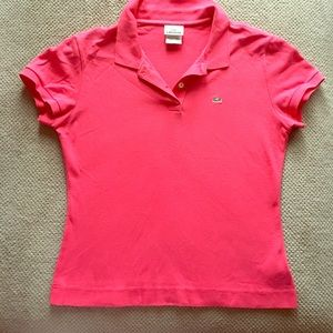Pink Lacoste Polo Collared short sleeved