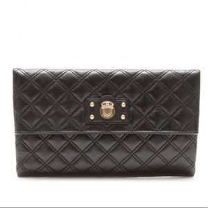 Marc Jacobs black quilted fold-over clutch