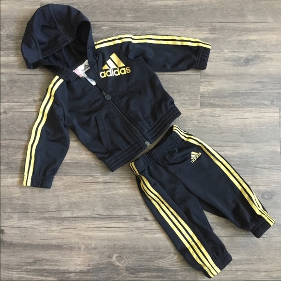 the latest 851a1 cf062 adidas Other - Adidas Black   Gold Baby Tracksuit   6 Months