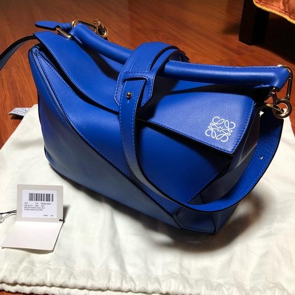 77ad3716dc33 Loewe Handbags - Loewe Medium Leather Puzzle Bag - Blue