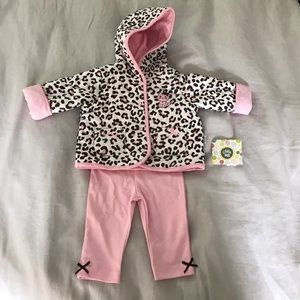 NWT Little Me a reversible Jacket and legging set