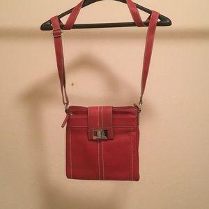 Tignanello Red Leather Cross Body Bag