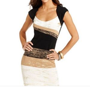 XOXO black gold metallic cap sleeve bandage dress