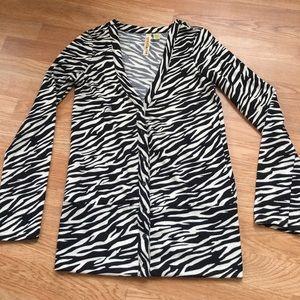 Eyeshadow Zebra Print Cardigan