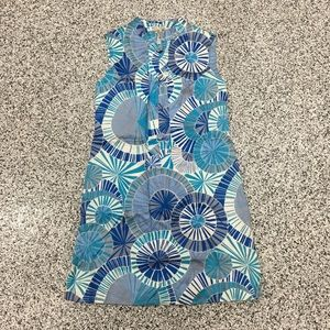 Vintage 1960s starburst cotton blue sundress