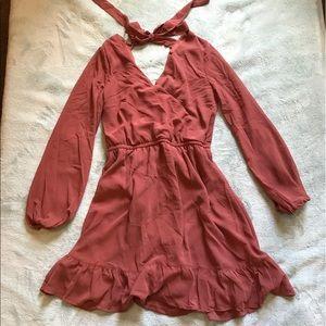 Terracotta Surplice Long Sleeve Dress