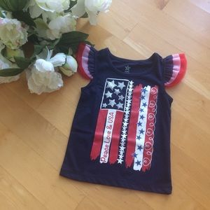 Other - NWOT 3T Patriotic Flutter Top Peace Love & USA