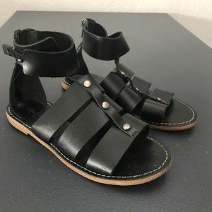 Madewell Black Leather Gladiator Sandals