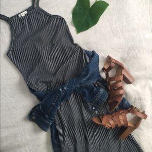 Silence + Noise Striped cotton midi dress