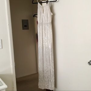 BCBG Generations Long Silver and White Dress