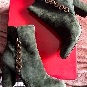 Via Spiga emerald suede booties