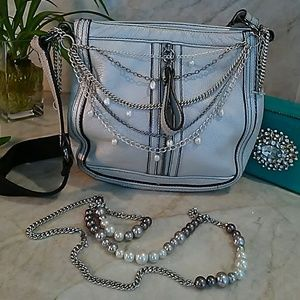 Kenneth Cole Silver LEATHER crossbody purse bag