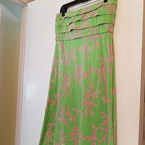 Lilly Pulitzer green and pink coral strapless dres
