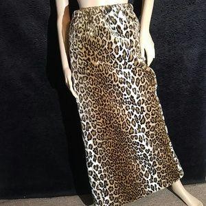 Vintage Faux Leopard Furry Maxi Skirt