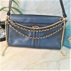 Etienne Aigner Purse Handbag Navy Blue Gold Chains