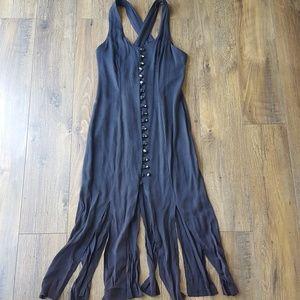 """Vintage midi dress with """"fringed"""" hem"""
