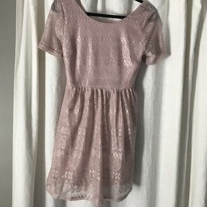 NWT Pink Blush Beige Lace Maternity Top