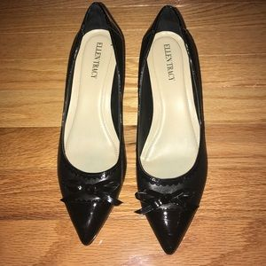 Classy Ellen Tracy Black Leather Pumps 7