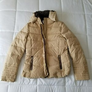 H&M down feather filled puff jacket. With faux fur