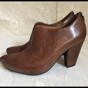 Earthies Mareesa Brown Leather Ankle Booties