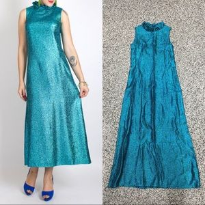 Vintage 60s teal sparkly mermaid maxi party dress