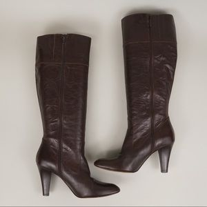 Coach knee high leather heeled boots with zippers