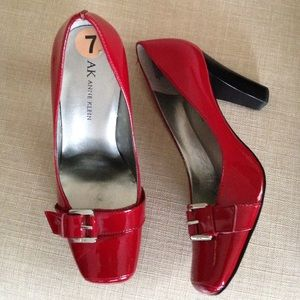 7 Anne Klein Red Patent Heels Pumps Silver Buckles