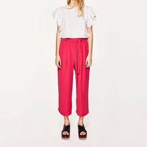 ZARA High waist culotte Wide Leg Fuchsia Crop Sm