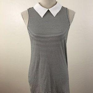 Women's Monteau  Stripped Black White Dress