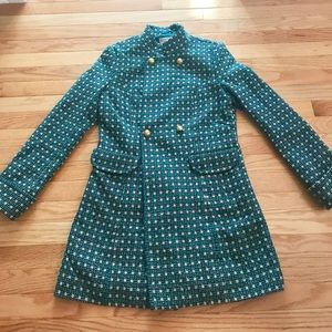 Beautiful Tulle Turquoise Wool Blend Pea Coat S
