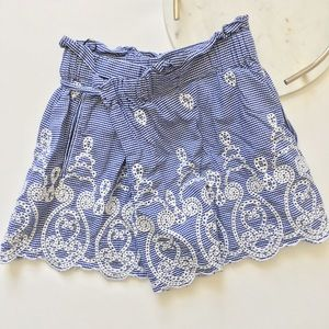 Zara Gingham Embroidered Lace Shorts