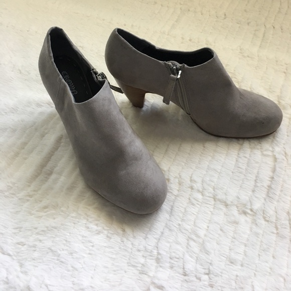 Born Shoes - Born Crown vintage wood heel booties in taupe 478823581