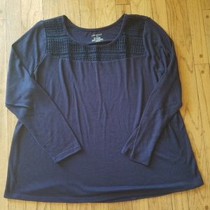 Lane Bryant navy knit top, NWOT