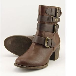 Ruff Hewn Thayer Buckled Booties brown new