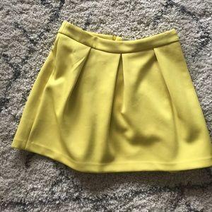 Yellow neoprene mini skirt