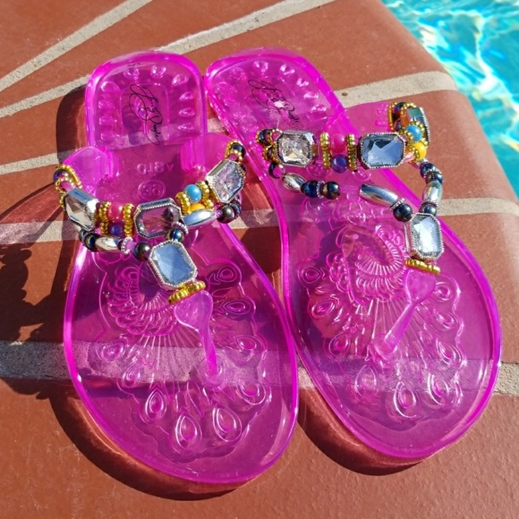 295258cf3 Jelly Jeweled Thong Sandals Pink By Lovely People