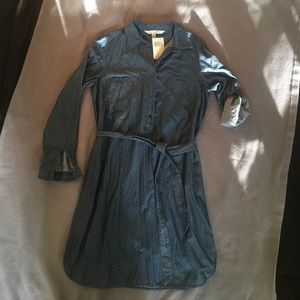 NWT LS polka dot, chambray dress. Size small