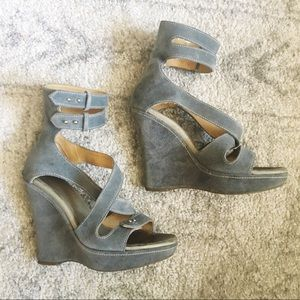 Rag & Bone Gray Suede Strappy Wedges Heels 36 / 6